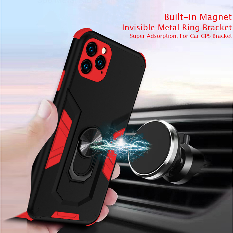 Magnetic Car Armor Case Coque for iPhone 11 Pro 7 8 Plus 6 6S Plus X XS Max Ring Hold Funda Full-Body Protection Cover
