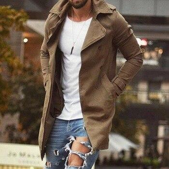 Spring Autumn Men Trench Coat Jacket Slim Fit Plus Size Black Outwear Business Long Windproof Overcoat Jackets For Men 1