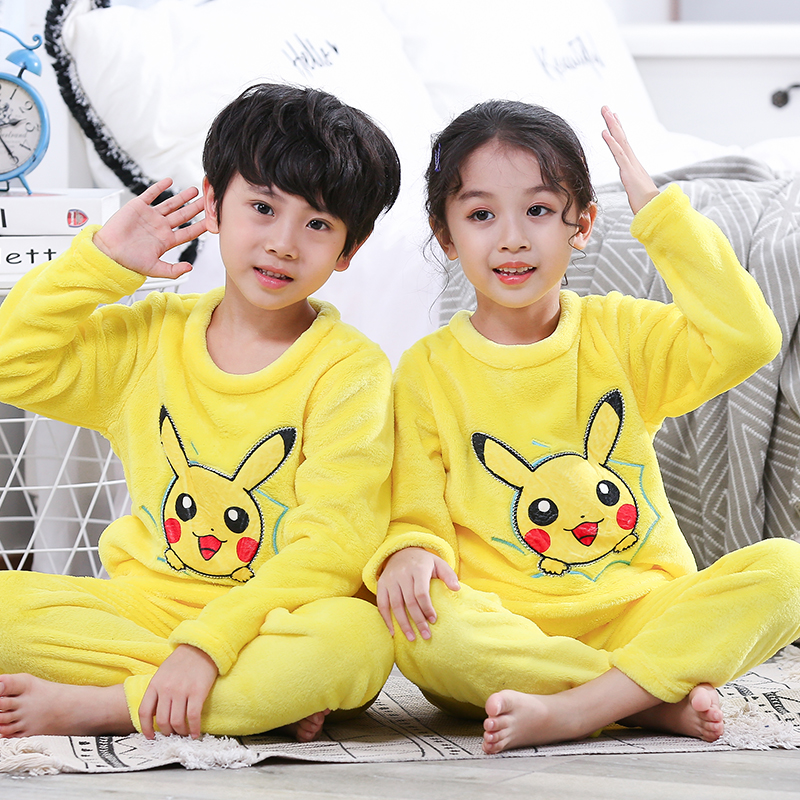 2019 Winter Children Fleece Pajamas Thicken Warm Flannel Sleepwear Girls Loungewear Coral Fleece Kids Pyjamas Boy Long Top+ Pant