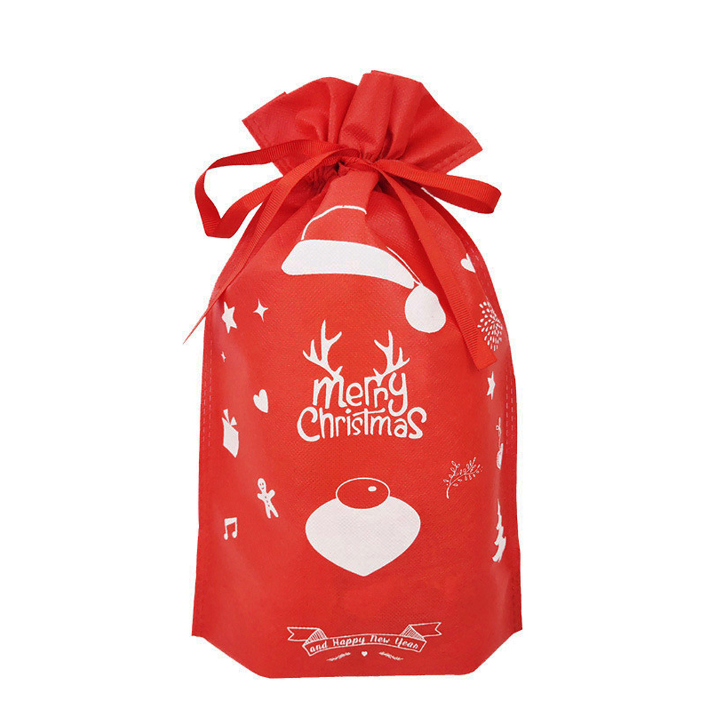 Red Christmas Holders Candy Gift Bag Home Kids Drawstring Non Woven Storage Party Decor