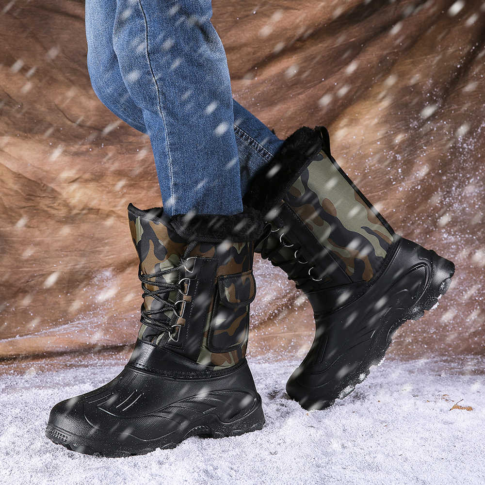 Mannen Winter Laarzen Licht Werk Vissen Regent Laarzen Mannelijke Waterdichte Camouflage Schoeisel Met Warm Bont Pluche Mannen Mid-Kalf sneeuw Boot