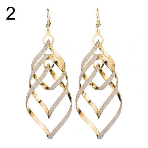 Female Sequins Earrings Spiral Pendant Hook Earrings Long Wave Dangle Wedding Jewelry kolczyki oorbellen серьги женские