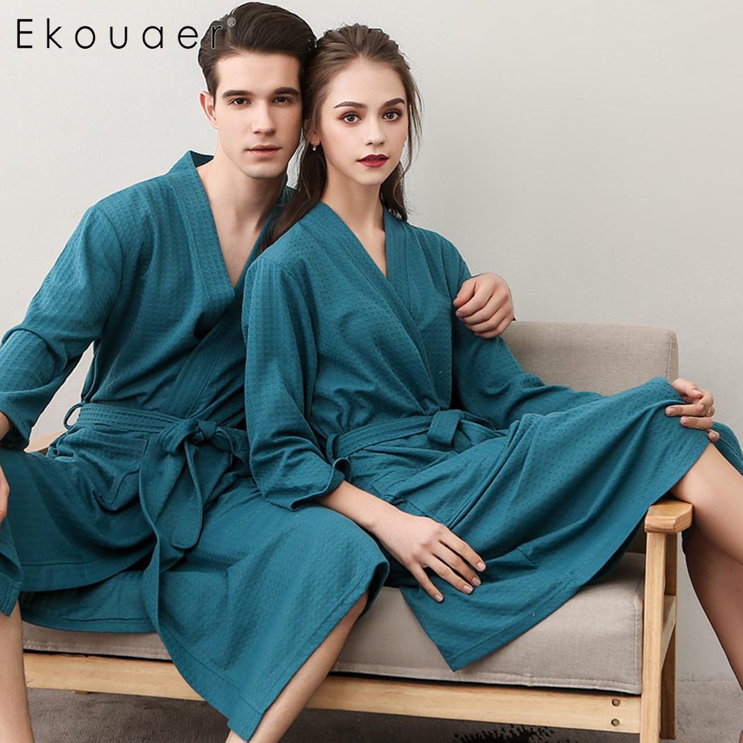 Ekouaer Unisex Robe Kimono Bathrobe Nightwear V-Neck 3/4 Sleeve Solid Pocket Mid Length Lace-up Robes Dressing Gown Sleepwear