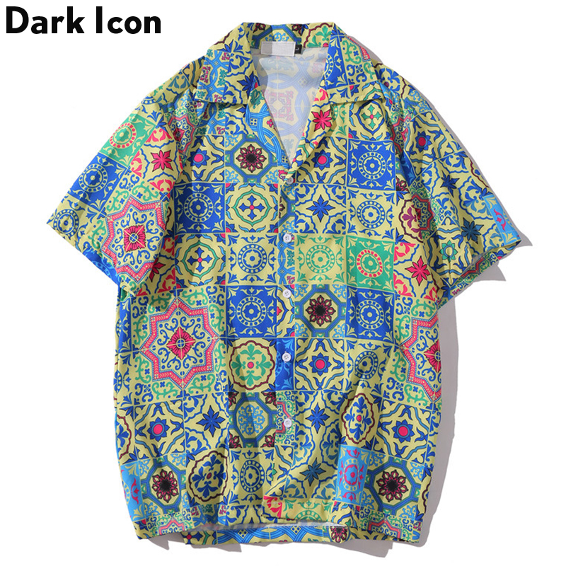 Dark Icon Hawaiian Retro Shirts Short Sleeve 2020 Summer Baroque Men's Shirt Men Party Club Casua Shirt