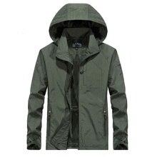 6XL erkek su geçirmez askeri ceket sonbahar erkekler rahat rüzgarlık ceketler Mens nefes kapüşonlu açık kat giysi, GA363