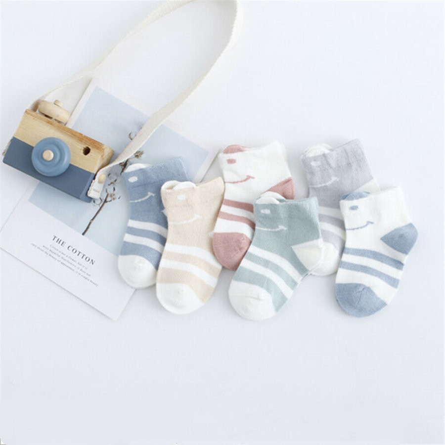 Newborn Baby Kids Casual Soft Sport Socks Cotton Striped Multi-Color Seamless Toe Socks Summer Autumn 2Pairs/Set 0-2Y