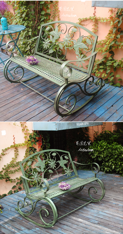 American Iron Art Retro Outdoor Schommelstoel Bench Binnenplaats Tafel En Stoel Park Stoel Binnenplaats Leisure Decoratie - 5