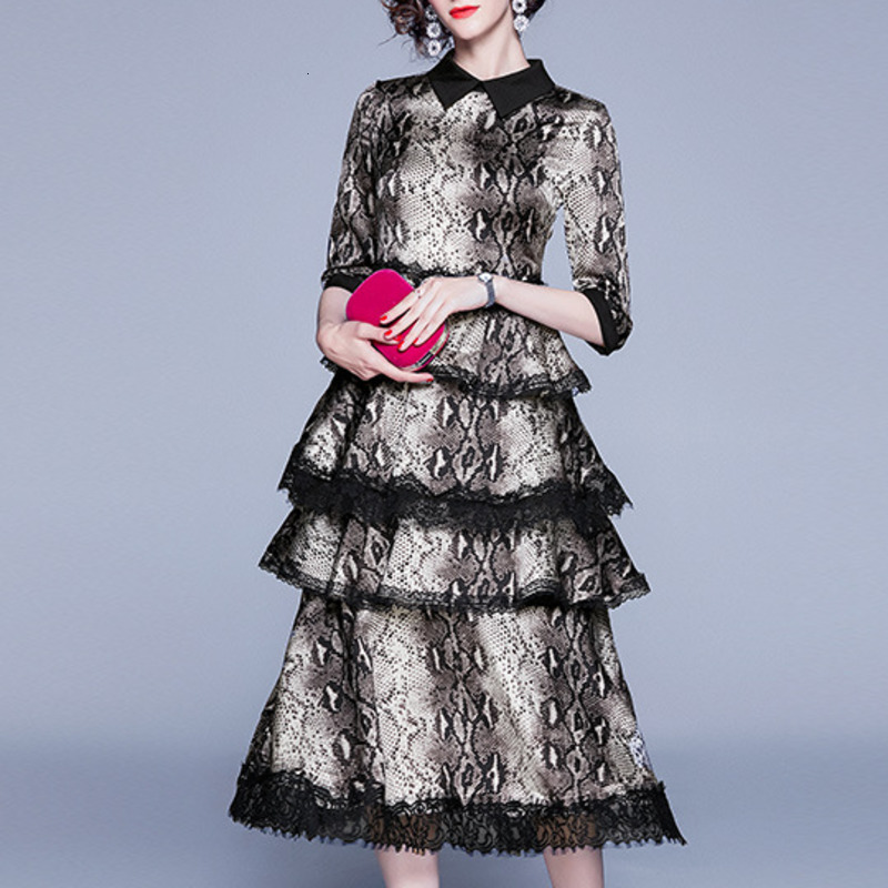 2019 New Woman Snake Skin Color Tiered Dress Large Size Pleated Long High Waist Lace Dress Soft Long Sleeve Autumn Dress HB092