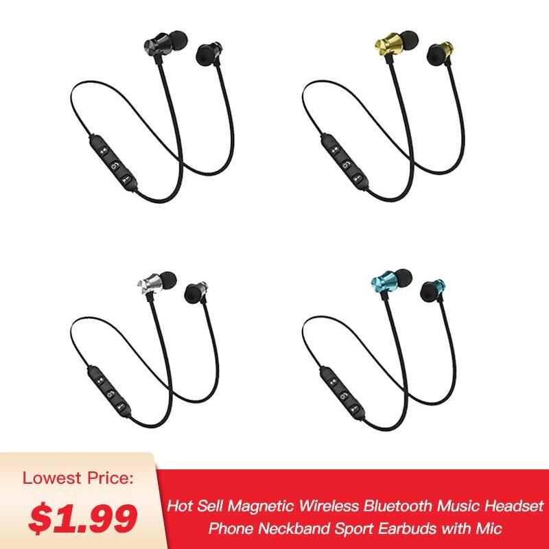 Hot Magnetic Wireless Bluetooth Earphone Stereo Sports Waterproof Earbuds Wireless In Ear Headset With Mic For Iphone 7 Samsung Bluetooth Earphones Headphones Aliexpress