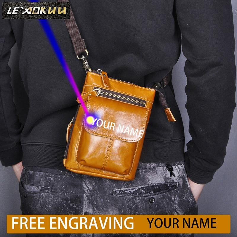 New Real Leather Men Multifunction Design Coffee Small Messenger Bag Fashion Fanny Waist Belt Bag Pack Cigarette Case 611-18-l