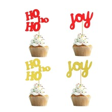 10pcs Cake Decoration Merry Christmas Toppers Red Gold Hohoho Joy Giltter for Happy New Year Party