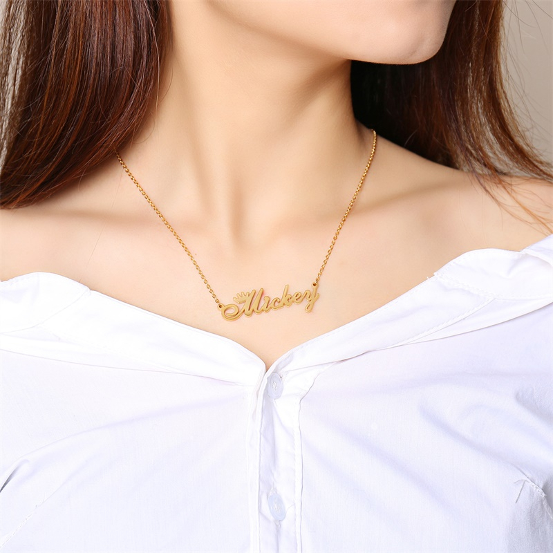 Personalize Name Necklace Women Crown Dedign Princess Weddding Jewelry Not Fade