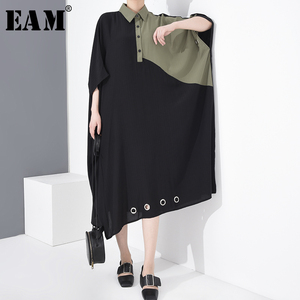 [EAM] Women Contrast Color Big Size Shirt Dress New Lapel Three-quarter Sleeve Loose Fit Fashion Tide Spring Summer 2020 1T96601