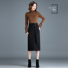 Autumn and winter woolen bag hip skirt female long section front split skirt high waist step skirt Creative belt skirt bag skirt self belt ruffle waist high split skirt