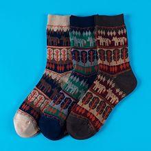 Korean Womens Ethnic Cotton Crew Socks Contrast Color Stripes Fox Tree Pattern Print Harajuku Casual Autumn Winter Hosiery
