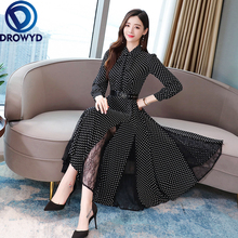 Autumn Dot Print Midi Dress for Women Boho Casual Long-sleeved Black Loose High Waist Holiday Party Vestidos