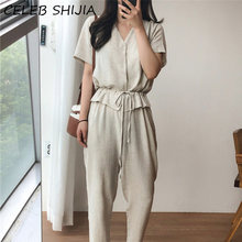 SHIJIA 2020 New Summer Women Jumpsuits & Rompers V-neck Casual Cotton and Linen Long Pants Beige Fake Two Pieces Playsuit female(China)