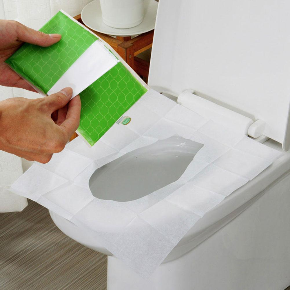 10pcs Disposable Toilet Seat Cover Mat Portable Waterproof Safety Toilet Seat Pad For Travel/Camping Bathroom Accessories