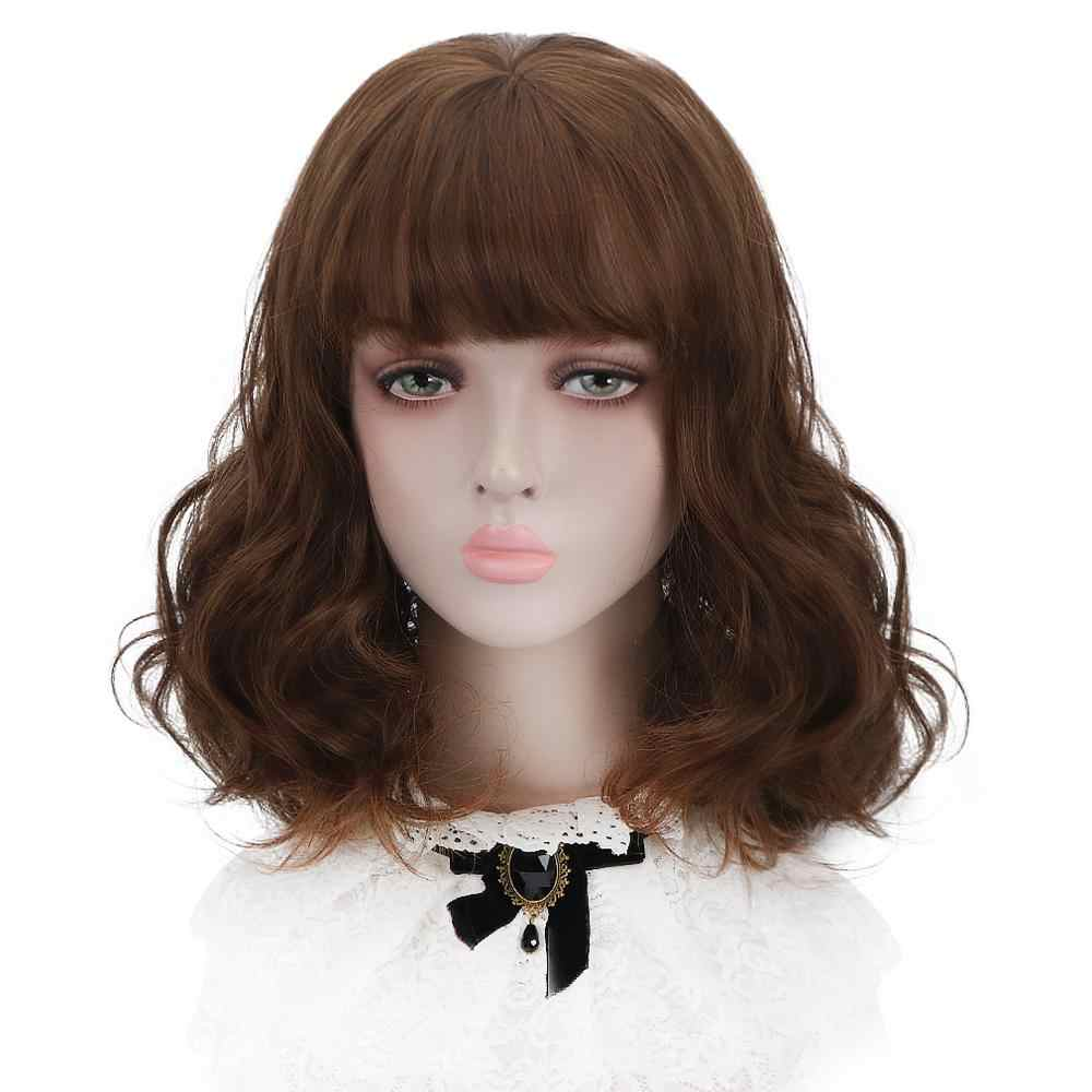"Free Beauty 14"" Short Wavy Synthetic Chestnut Brown Ash Blonde Ginger Dun Hair Bobo Wigs with Bangs for Women Daily Makeup"