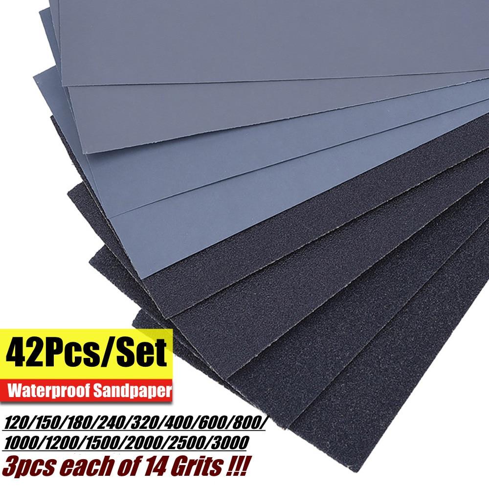 42Pcs Wet Dry Sandpaper 120-3000 Grit Assortment Abrasive Paper Sheets For Automotive Sanding Wood Furniture Finishing 23*9 cm