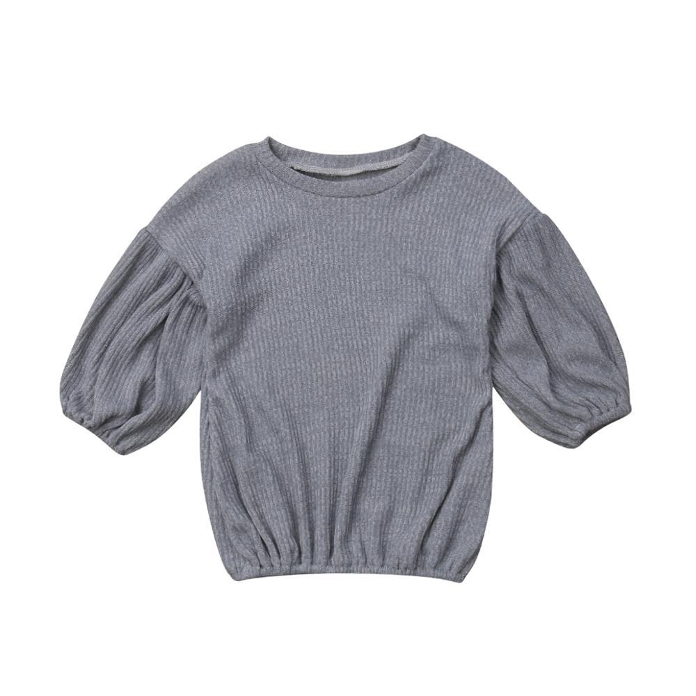 Г. Весенне-осенняя одежда для малышей футболка с длинными рукавами для маленьких девочек топы, свитер Детская футболка, пуловер Топ, Однотонная рубашка От 1 до 6 лет - Цвет: Серый
