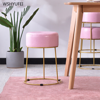 Household metal wrought iron small stool leather art bench fashion simple modern shoe bench creative round stool makeup stool