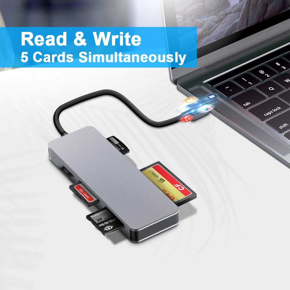 Image 4 - Rocketek same time read 5 card usb 3.0 Type c memory card reader adapter for micro SD/TF CF MS XD compact flash microsd computercard reader usb 3.0card reader usball card reader -
