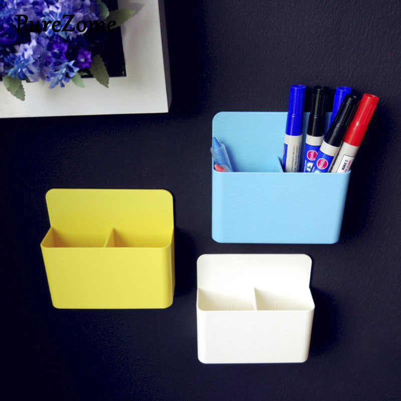 Fridge Magnet Magnetic Marker Pen Storage Box Grid Rubber Magnet Plastic Organizer For Classroom Meetingroom Pencil Case Save Sp