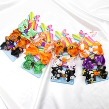 3 '' 3Pcs/Set Mini Halloween Hair Bows Ghost Pumpkin Print Hair Clips Ribbon Jojo Siwa JOJO Bows Boutique Hair Accessories кольцо jojo 2015 sweety 10 jx0447