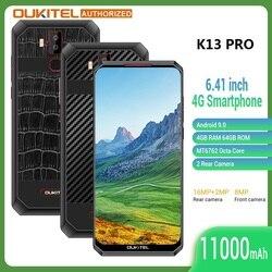 Смартфон OUKITEL K13 Pro 4G, Android 9,0, экран 6,41 дюйма, 4 Гб + 64 ГБ, 11000 мАч, сканер отпечатка пальца, 5 В/6 А, мобильный телефон с быстрой зарядкой