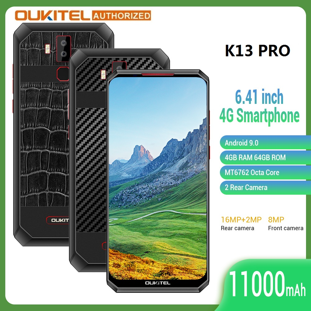 OUKITEL K13 Pro 4G Smartphone Android 9.0 6.41 inch 4GB+64GB 11000mAh Fingerprint 5V/6A Fast Charge Mobile Phone Cellphone