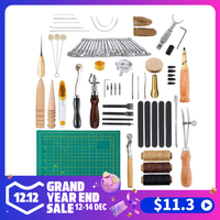 18/34/48/50 PCS Leather Craft Tools Kit Sewing Stitching Punch Carving Work Saddle Leathercraft Accessories for Leather Working