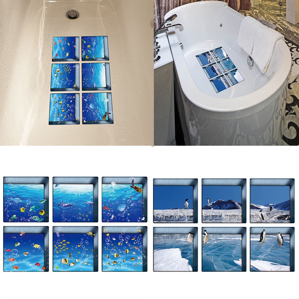 12 Count Self Adhesive Safety Decals Treads Non Slip Bathtub Sticks Tub Tattoos 5x5inch 3d Effect Fishes Penguins Wall Stickers Aliexpress
