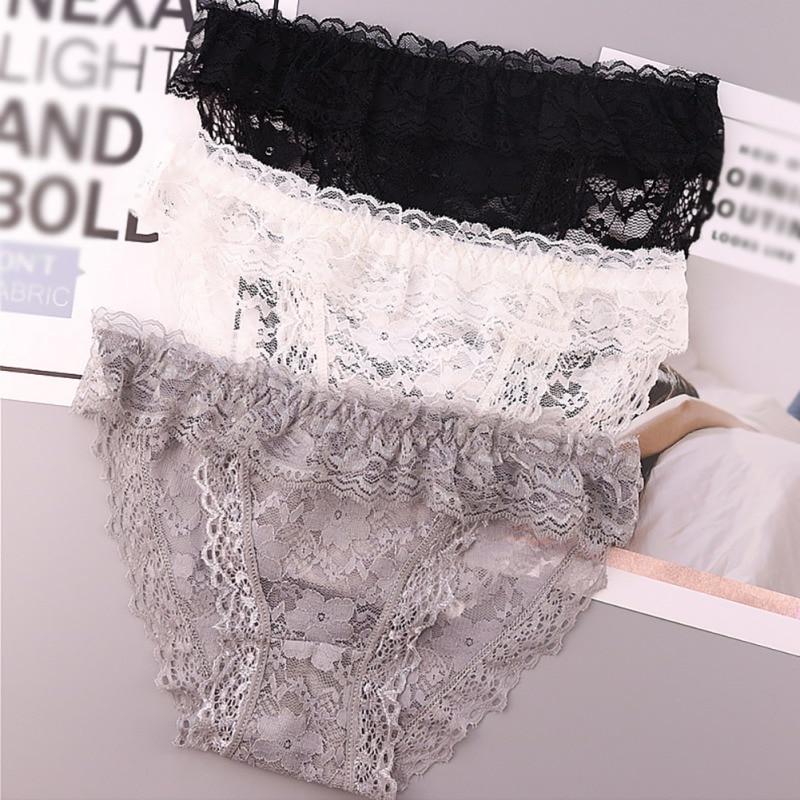 Ruffles Trim Panties Women Lace Sexy Low Rise Panties Thongs Sexy Lingerie Seamless Panty Underwear Female Waist Comfort Briefs