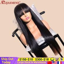 Perruque Lace Front Wig brésilienne Remy longue lisse, cheveux naturels avec frange, Lace Closure 4x4, sans colle, densité de 180, pour femmes