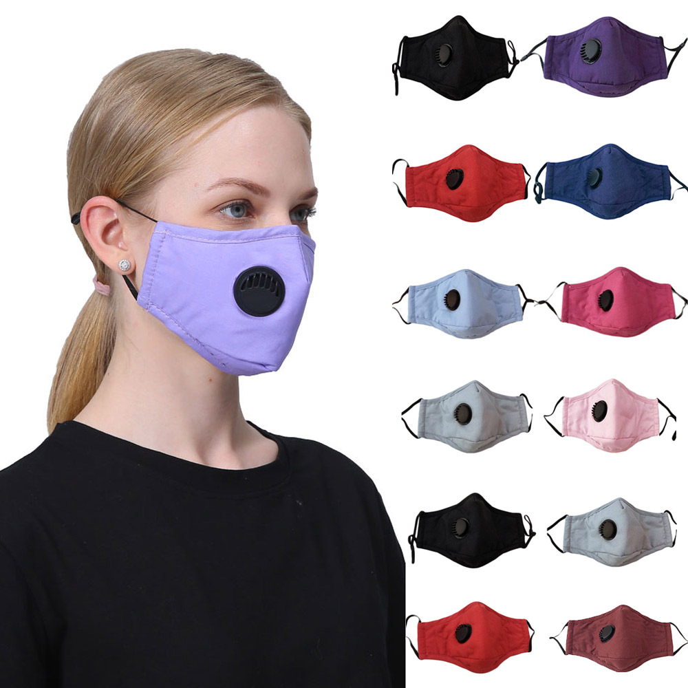 Pm2.5 Women Cotton Mask Anti Dust Air Pollution Breath Valve Activated Carbon Filter Black Mouth Mask Men Reusable Face Masks