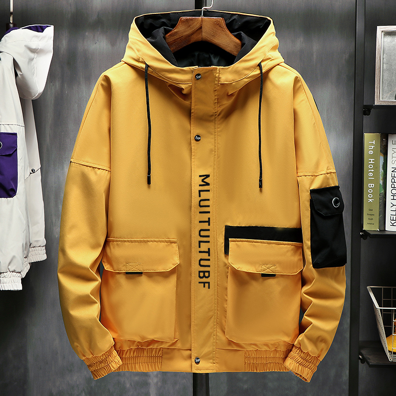High Quality Jackets Men Autumn Winter Loose Korean Fashion Hip Hop Big Pockets Plus Size M-4XL Hooded Harajuku Homme Jacket