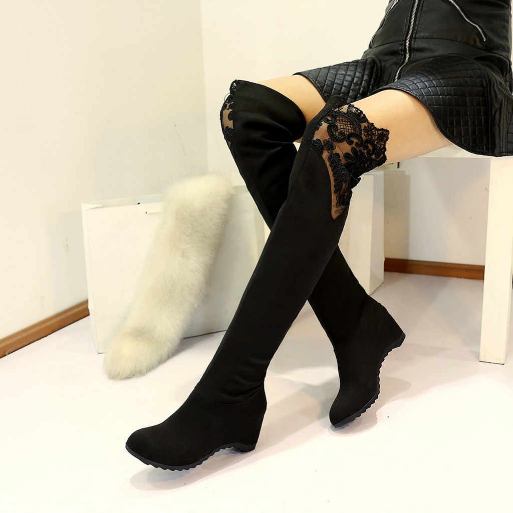 Sexy Lace Women's Boots Short Plush Warm Winter Shoes Women Casual Wedges Over-The Knee Long Boots botas mujer invierno 2019