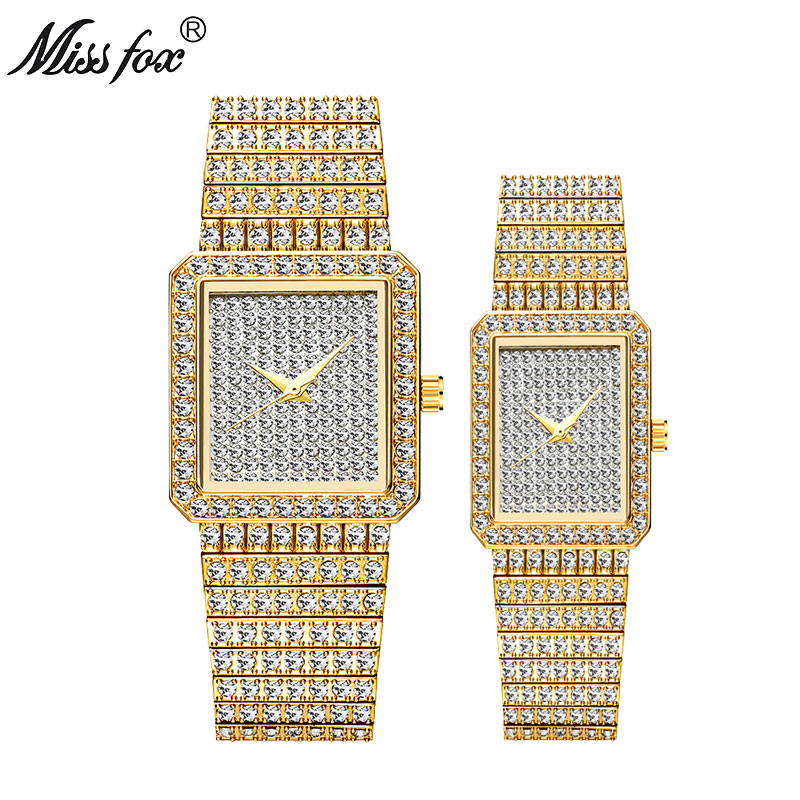 MISSFOX Hot Sale Square Men Women Lovers Watch Luxury 18K Gold Couple Diamond Quartz Watch Golden Clock Best Husband Wife Gift