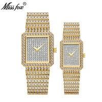 MISSFOX Hot Sale Square Men Women Lovers Watch Luxury 18K Gold Couple Diamond Quartz Watch Golden Clock Best Husband Wife Gift