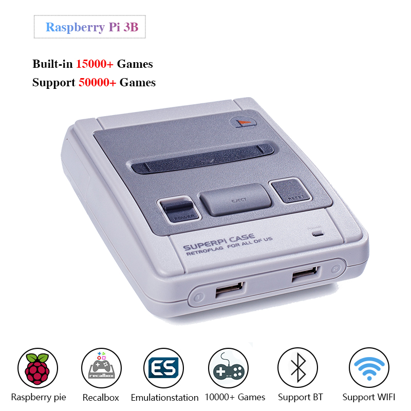 HDMI Out Retroflag SUPERPi CASE-J case with Raspberry Pi 3B Video Game Console Retro Gaming Console & 15000+ Games