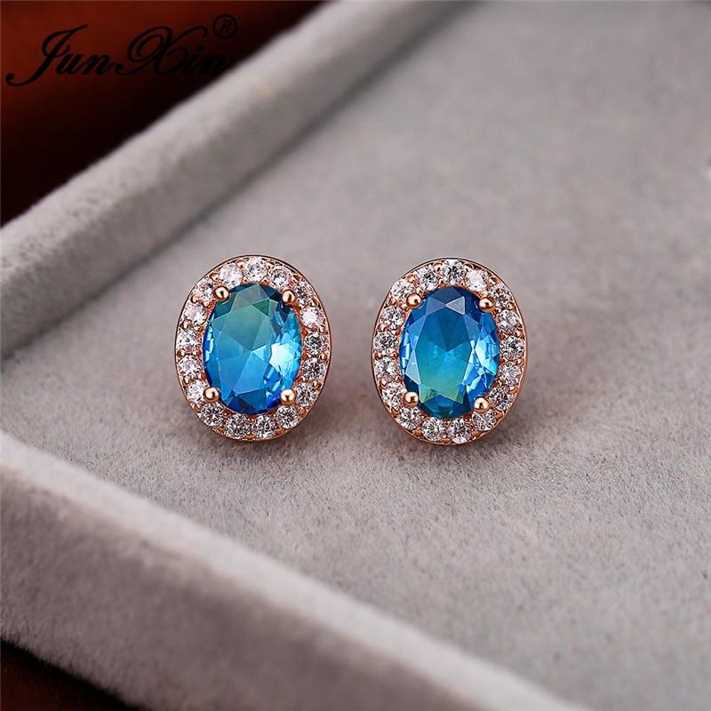 Mystic Rainbow Fire Crystal Oval Stone Earrings Rose Gold Blue Green Pink Zircon Vintage Wedding Stud Earrings For Women Jewelry