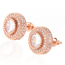 Hip Hop Mens Cool Iced Out Geometry Round Stud Earring Luxury Micro Pave CZ Stone Shiny Bling Rapper Jewelry