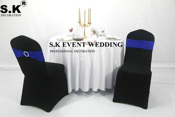 50 sztuk złoty srebrny cekin wstążka na krzesło Sash brokat łuk pasuje na pokrowiec na krzesło na wesele bankietowe dekoracje na imprezy okolicznościowe tanie i dobre opinie SHENGXuntex Haftowane Zwykły Domu Hotel Ślub BANQUET 15x35cm sash-WNN poly+sequin