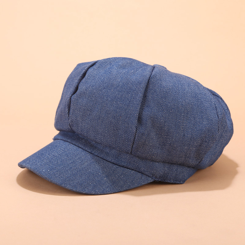 <font><b>News</b></font> Summer Men Women Plain Blank Denim Berets Hat Casual Unisex Visor Octagonal Caps image