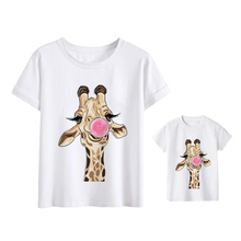 Baby Boy Clothes Beautiful T-shirts Kawaii Family Look Giraffe Mom and Daughter Dress T shirt Father and Son Clothes Tshirt