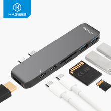 Hagibis 7-in-1 Dual USB-C HUB Type-C Hub Adapter to HDMI SD/TF Card Reader PD Charging 4K HD for MacBook Pro USB 3.0