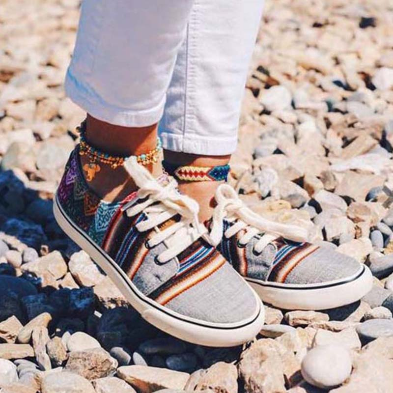 2020 New Women Casual Shoes Lace up Leisure Female Shoe Lightweight Folk-custom Women Colorblock Casual Shoes Zapatillas Hombre