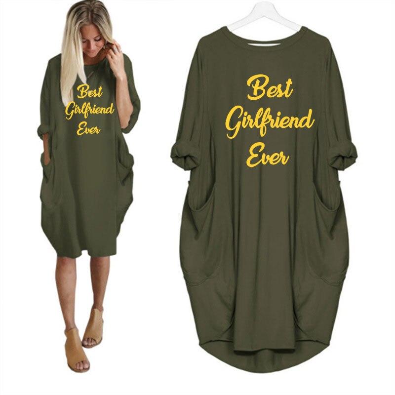 Новое поступление, женское платье с длинным рукавом и принтом «лучшая подруга»