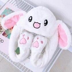 Шапка кролика с подвижными ушками, шапка кролика с ушками, теплая плюшевая Милая шапка с подушкой безопасности